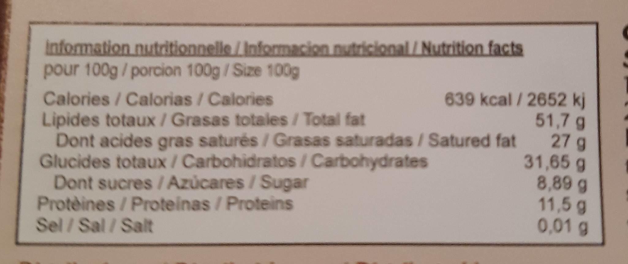 El Inti noir noisettes 90% - Nutrition facts - fr