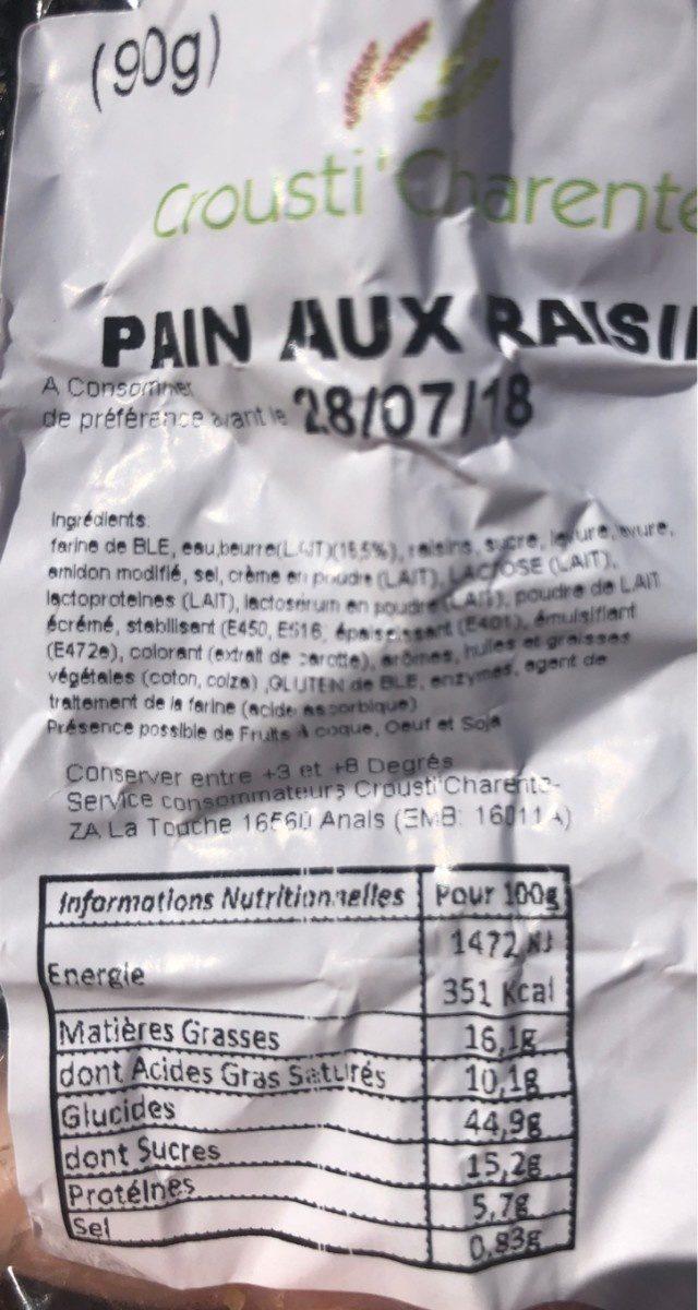 Pain au raisins - Ingrédients - fr