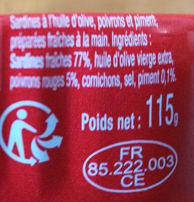 Sardines piment et poivrons - Ingrédients - fr