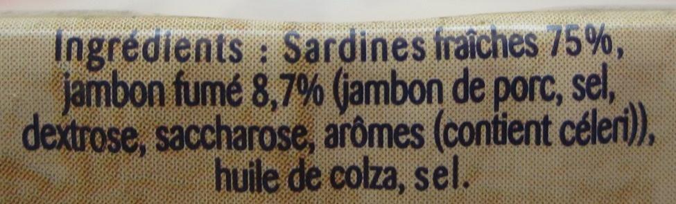 Sardines préparées à l'Ancienne (Jambon Fumé) - Ingrédients - fr