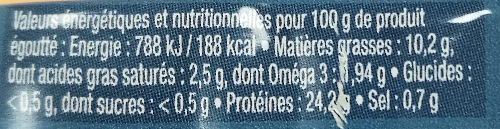 """Mini sardines """"Les petites fondantes"""" - Informations nutritionnelles - fr"""