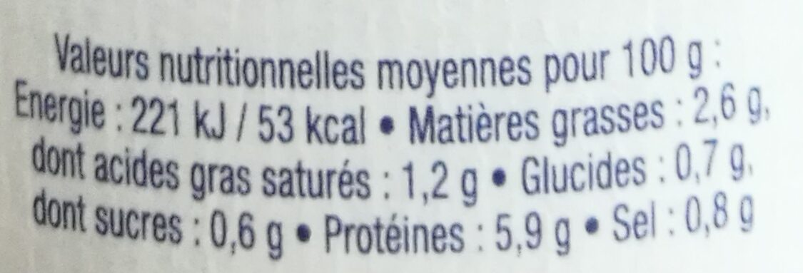Bisque de langoustines - Informations nutritionnelles - fr
