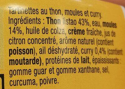 Tartinette thon, moule et curry - Ingrédients - fr