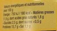 Tartinette thon, moule et curry - Informations nutritionnelles - fr
