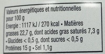 Rillettes de sardine au beurre de baratte - Informations nutritionnelles - fr
