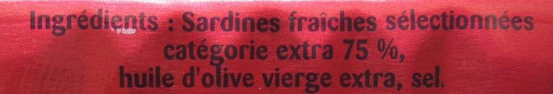 Sardines de St-Gilles-Croix-de-vie Millésime 2009 - Ingrédients - fr