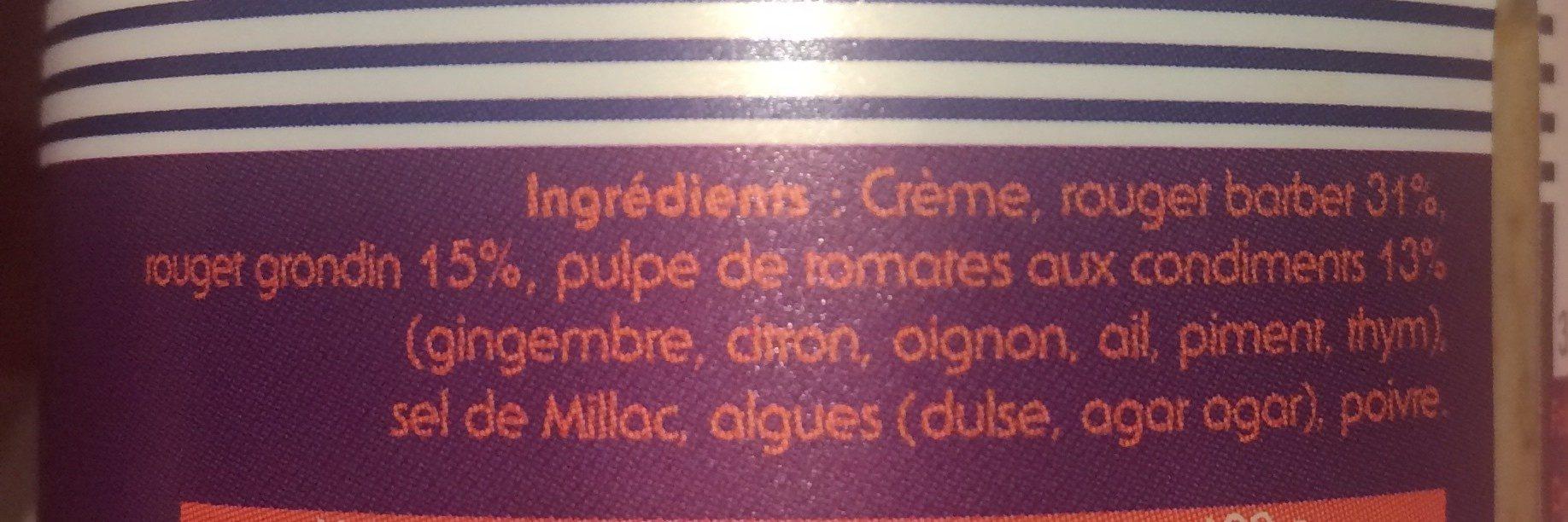 Verrine de rouget à la pulpe de tomates et condiments - Ingrédients - fr