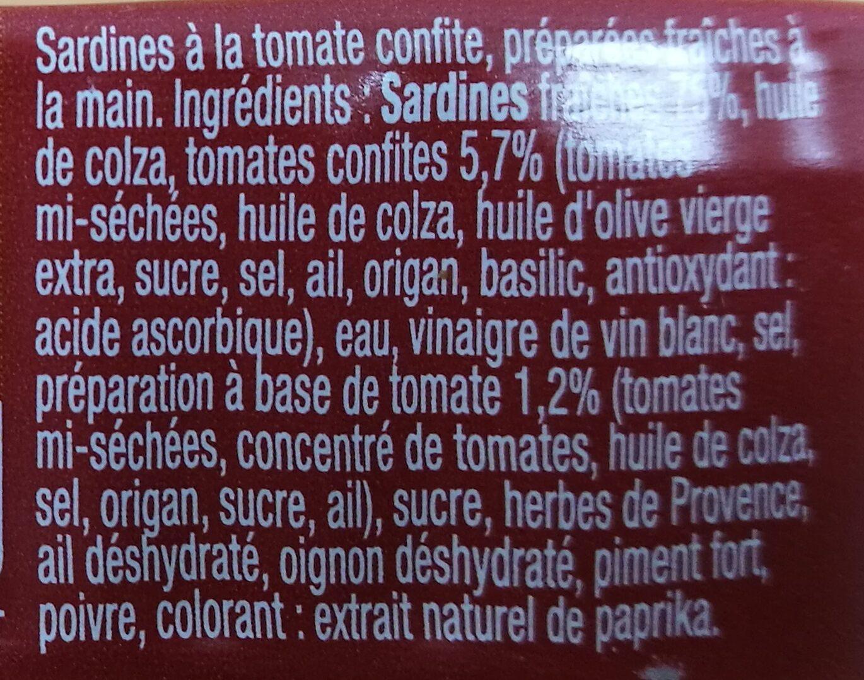 Sardines à la tomate confite - Ingrédients - fr