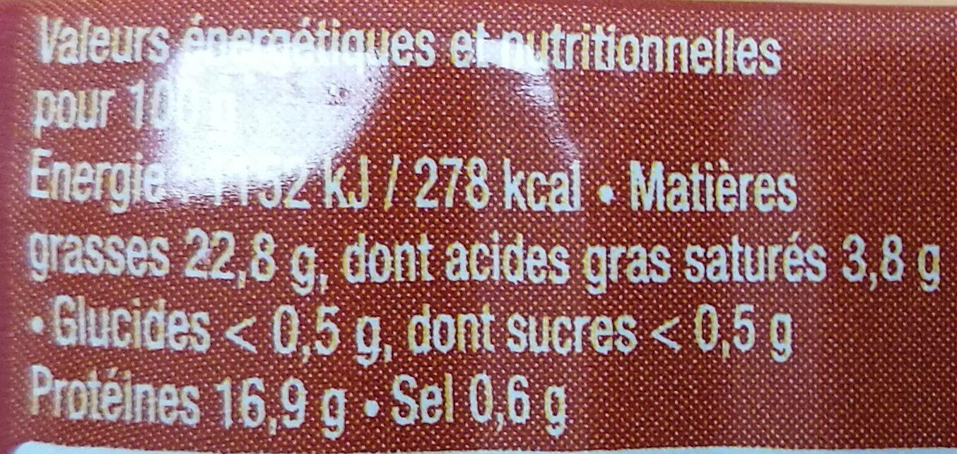 Sardines à la tomate confite - Informations nutritionnelles - fr