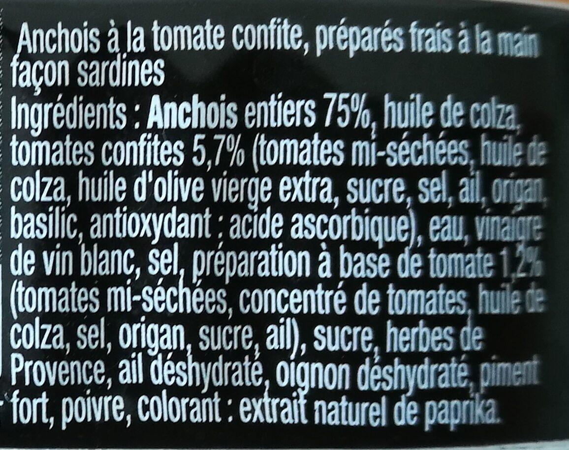 Anchois à la tomate confite - Ingrédients - fr
