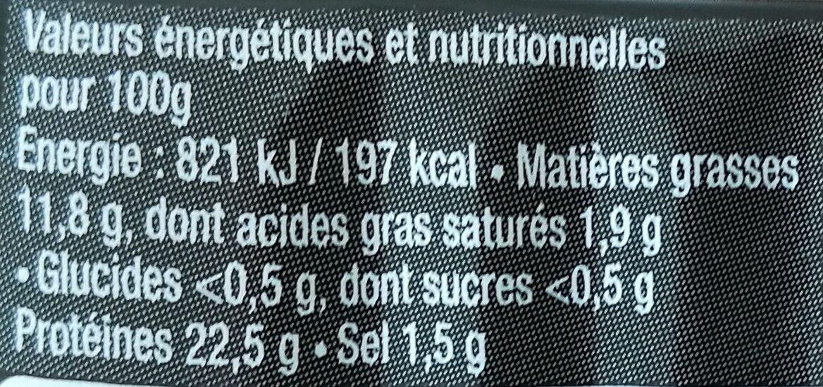 Anchois à la tomate confite - Informations nutritionnelles - fr