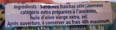 """Sardines Millésimées 2015 """"Le premier voyage de Capucine"""" - Ingrédients - fr"""