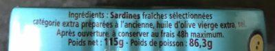 Sardines de saint-gilles-croix-de-vie millésime 2015 - Ingrédients - fr