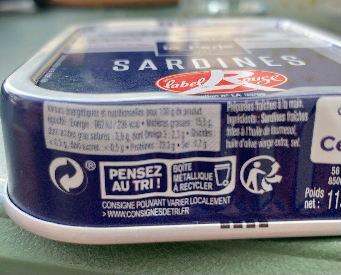 Sardine - Informations nutritionnelles - fr