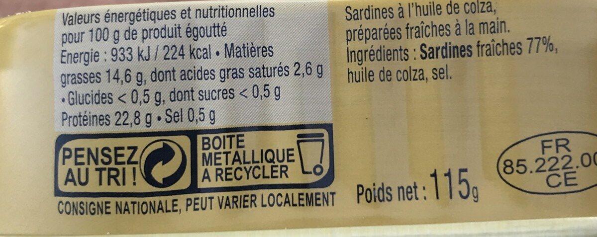 Sardines à l'huile de colza - Ingrédients - fr