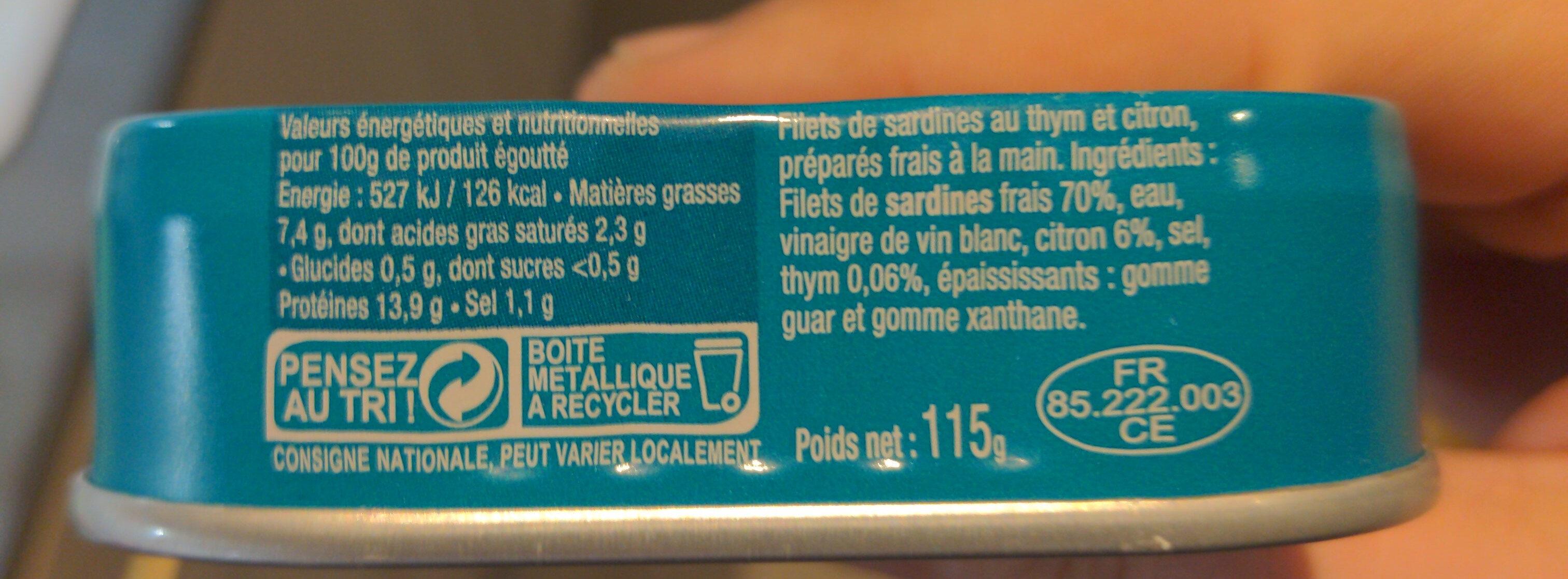 Filets de sardines sans huile thym et citron frais - Informations nutritionnelles - fr