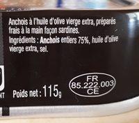 Anchois entiers à l'huile d'olive - Ingrédients - fr