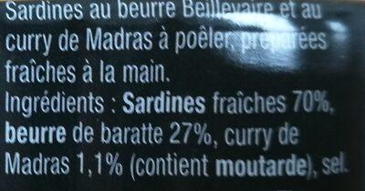 Sardines à poêler au curry de Madras - Ingrédients - fr