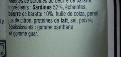 Rillettes de sardines au beurre de baratte - Ingrédients - fr