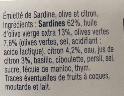 Emietté de sardine olive et citron - Ingrédients - fr