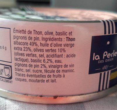 Emietté de thon, olive, basilic et pignons de pin - Ingrédients - fr