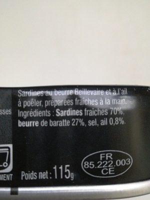Sardines à poêler à l'ail - Ingrédients