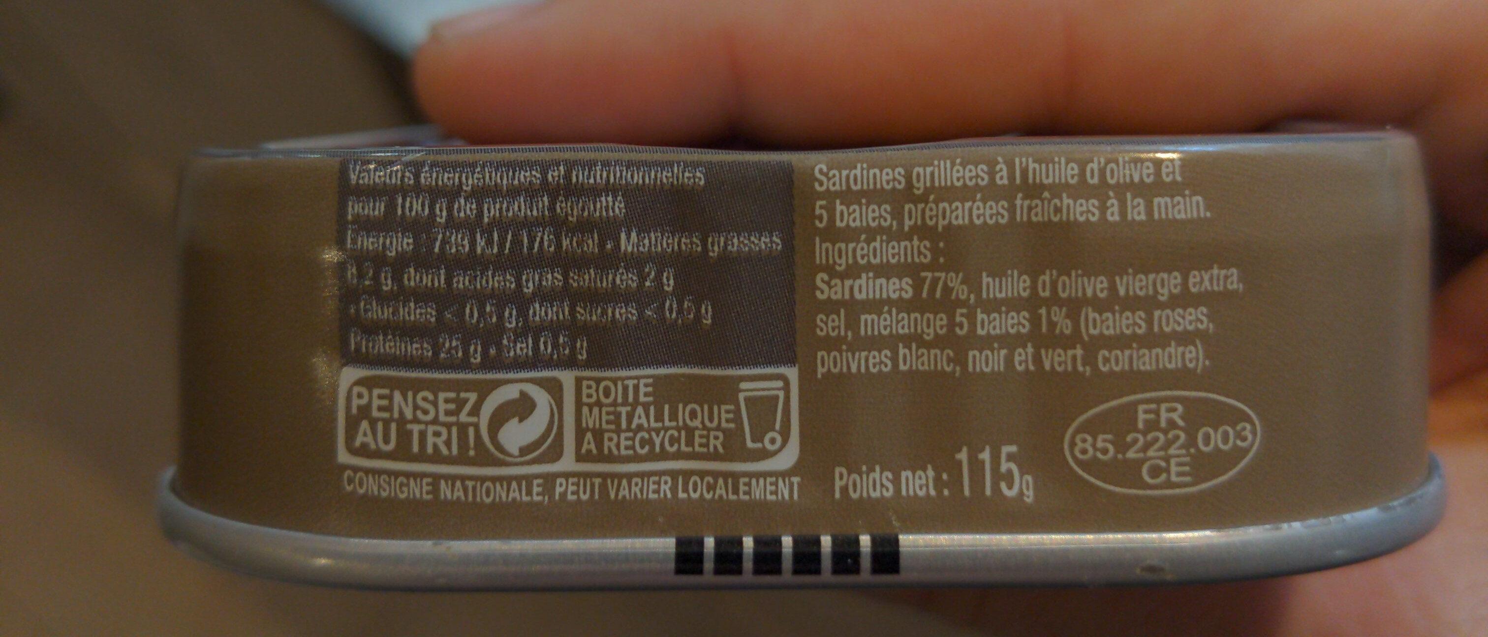 Sardines grillées aux cinq baies - Informations nutritionnelles - fr