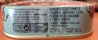 Sardines Millésimées 2017 - Ingrédients - fr