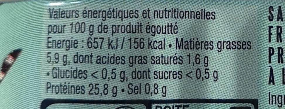 Sardines Millésimées 2017 - Informations nutritionnelles - fr