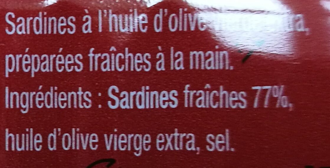Sardines a l'huile d'olive vierge extra - Ingrédients - fr