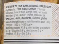 Ventrèche de thon blanc germon à l'huile d'olive 190g - Informations nutritionnelles - fr
