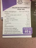 Les Ficé-glisse - Informations nutritionnelles
