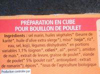 Bouillon en cube poulet - Ingrédients