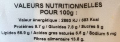 Epicerie / Fruits Secs Et Purées / Fruits Secs Bio - Nutrition facts