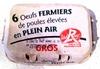 6 oeufs fermiers de poules élevées en plein air, GROS - Produit