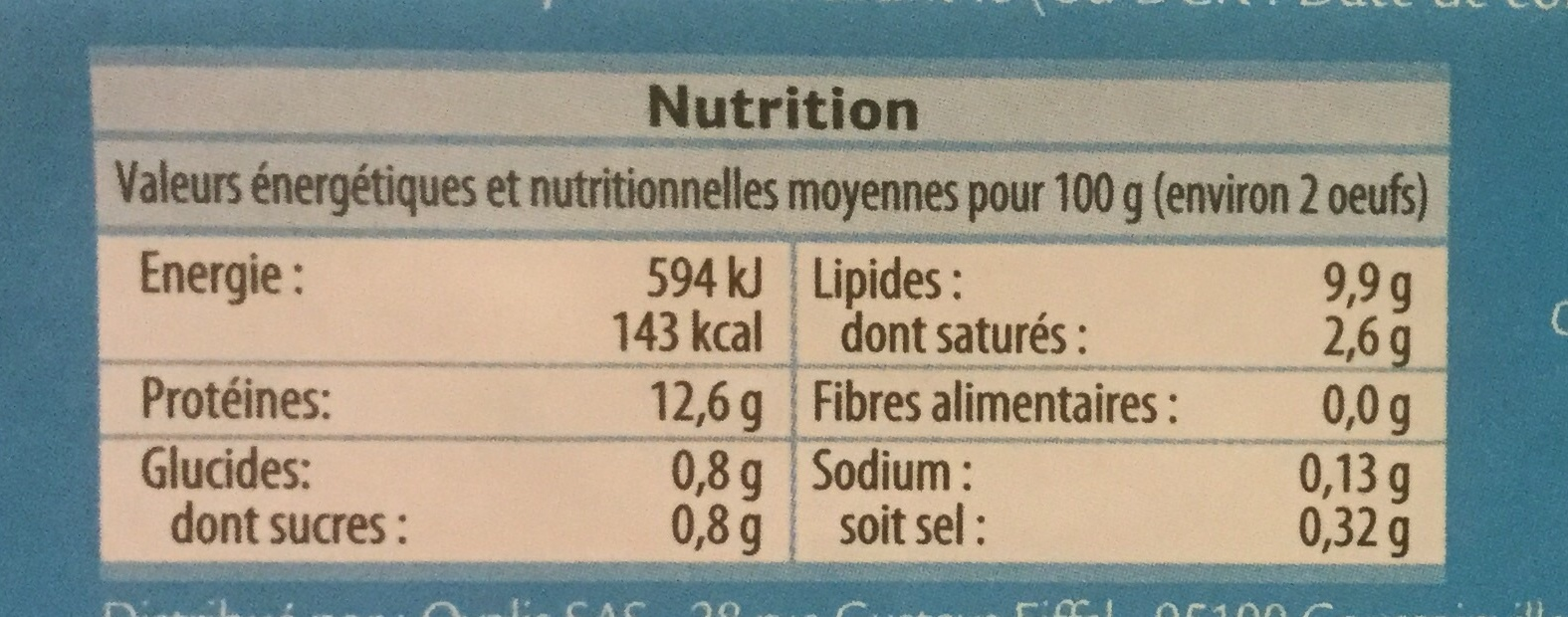 Oeufs plein air - Informations nutritionnelles - fr