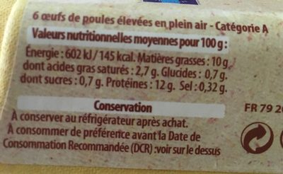 6 gros oeufs plein air - Ingredients - fr