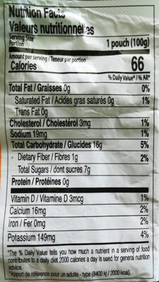 Noni energy - Nutrition facts - fr