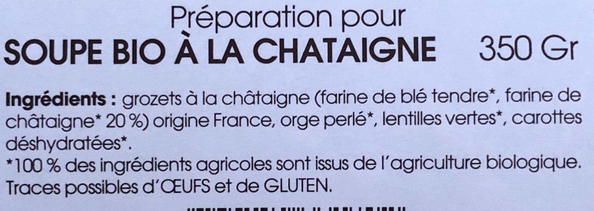 Soupe bio à la châtaigne - Ingrediënten - fr