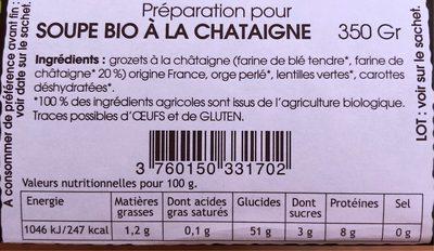 Soupe bio à la châtaigne - Voedingswaarden - fr