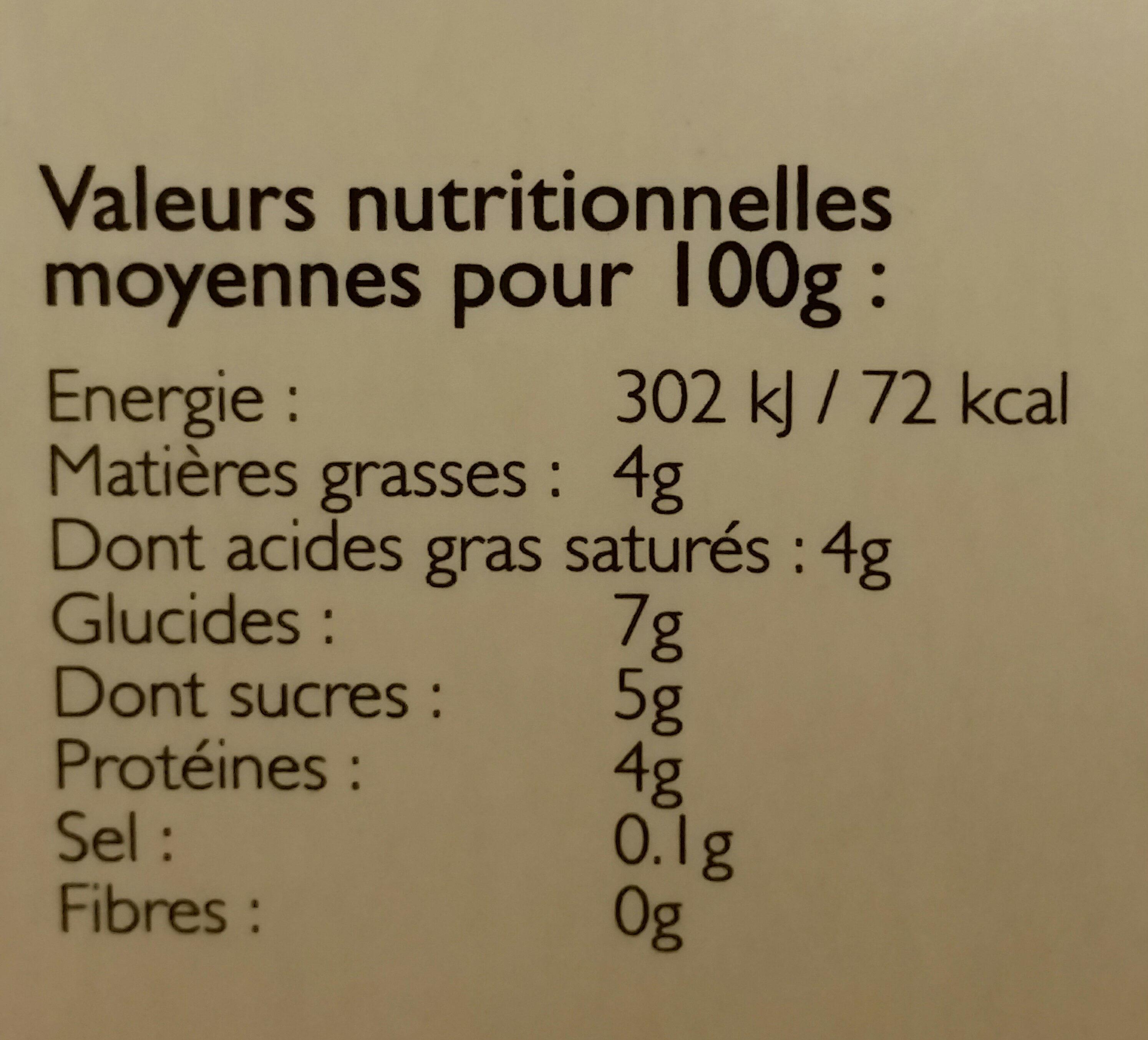 Mézerac Yaourts fermiers nature les 4 pots de 125 g - Informations nutritionnelles - fr