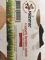 Mézerac Yaourts fermiers nature les 4 pots de 125 g - Nutrition facts - fr