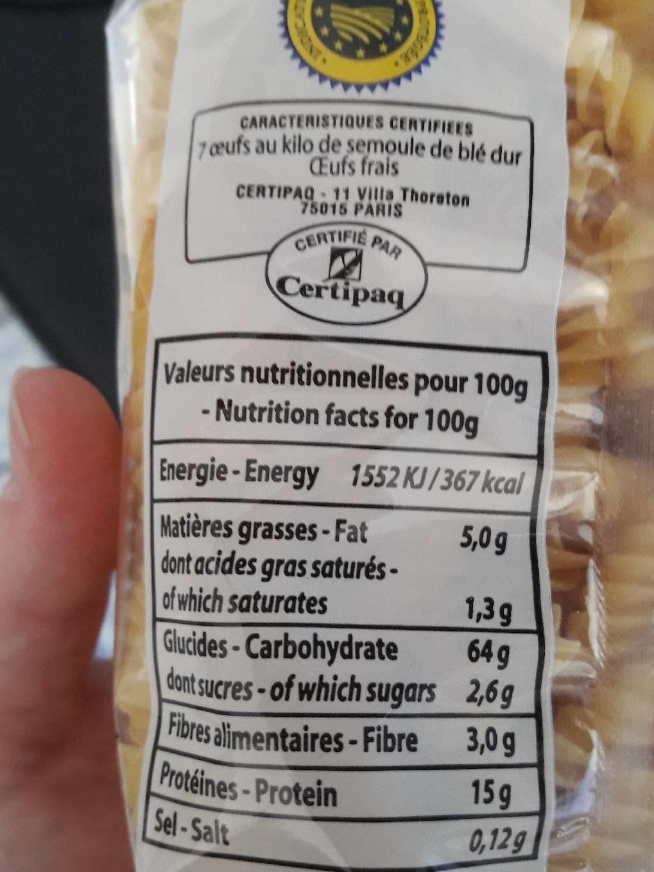 Torsades pates d'Alsace - Informations nutritionnelles