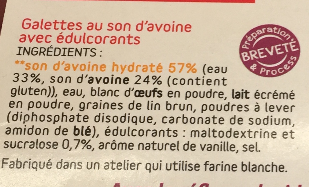 Galettes de son d'Avoine goût sucré - Ingredients - fr