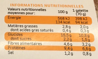 Galettes de son d'Avoine goût sucré - Nutrition facts - fr