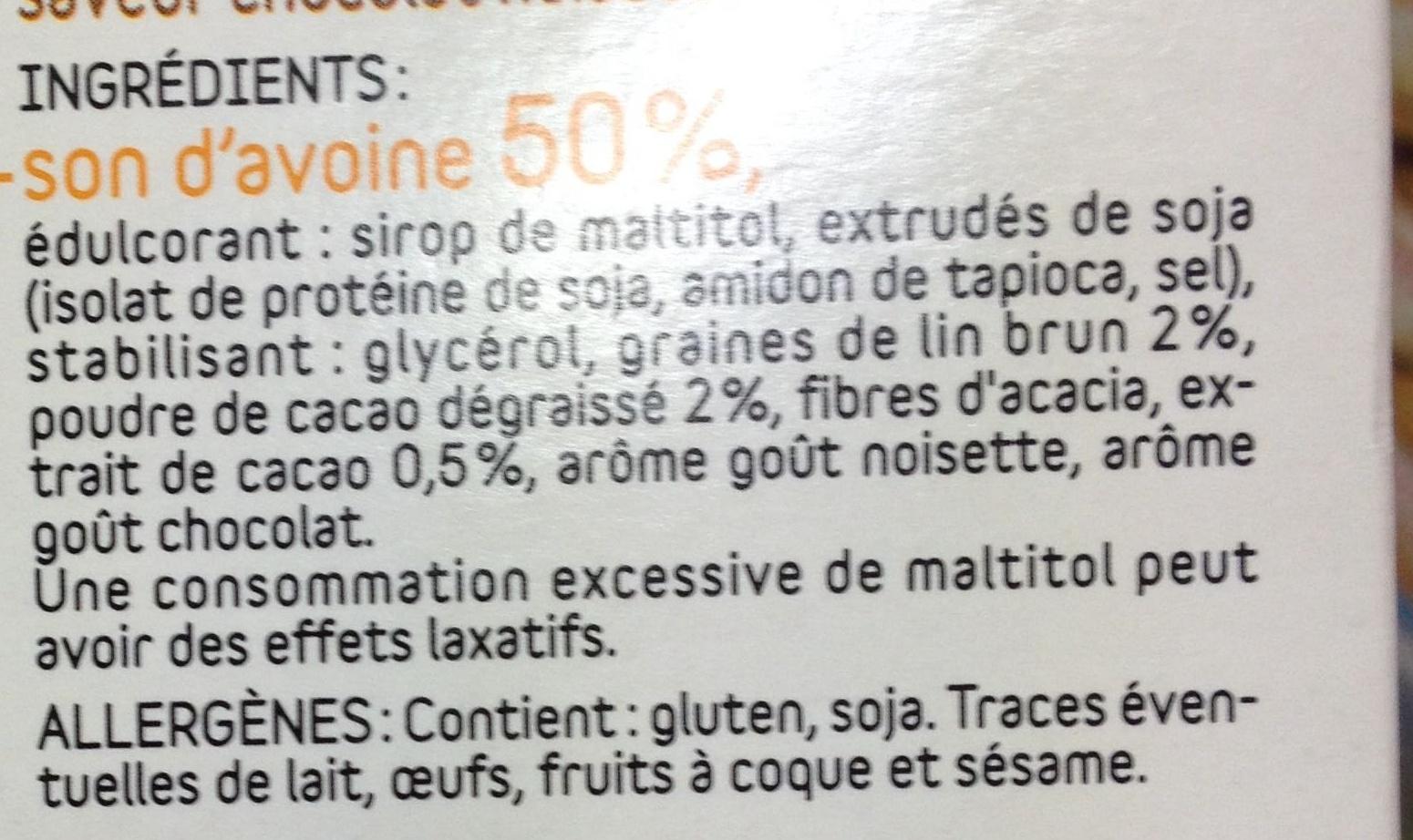 Barres de son d'avoine chocolat noisette - Ingredientes