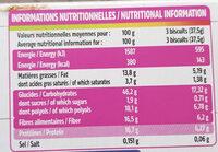 Biscuits aux pépites de chocolat - Nutrition facts - fr