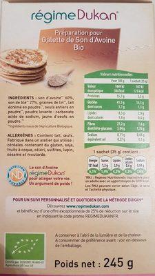 Préparation Pour Galette Au Son D'avoine Bio 245 g - Ingrediënten - fr