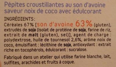 Pépites de son d'avoine saveur Noix de Coco Dukan - Ingredients
