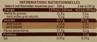 Barres extra-gourmandes - Informations nutritionnelles